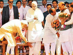 This was the first time the two leaders were sharing dais publicly after September 13, when the Gujarat chief minister was made the party's PM candidate.