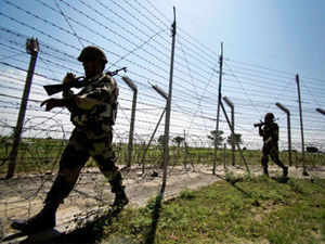 Two BSF jawans were injured when Pakistani troops opened fire at 7 border out posts and civilian areas along the Border in Jammu and Samba districts.