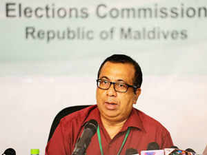 Maldives Election Commission today called off fresh presidential polls after the police prevented it from going ahead. In Pic: Maldives Election Commissioner Fuwad Thowfeek speaks to reporters in Male on October 19, 2013.