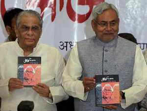 Bihar CM Nitish Kumar and George Fernandes' close aide Ranjit Bhanu at the launch of a book written on Fernandes in Mumbai on Saturday.