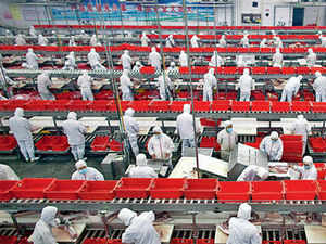 In pic: Employees on production lines at a processing plant in central China. India wants Chinese companies to manufacture in its industrial parks and then export the products.