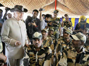 Union Home Minister Sushilkumar Shinde today said there is no question of any role for a third party in Kashmir issue. In Pic: Sushilkumar Shinde in Samba sector.