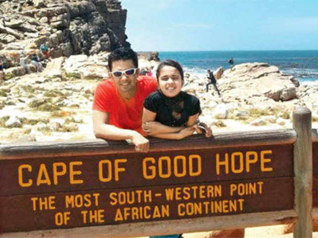 Sajid Khan, with his daughter Ahanah at the Cape of Good Hope, South Africa
