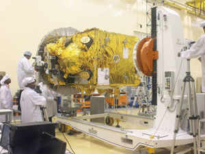 Scientist working with the Mars Orbiter Mision Space craft which was unveiled today at ISRO Satellite Centre (ISAC) in Bangalore.