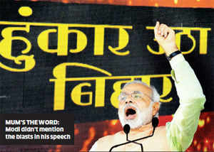 Undeterred, Modi proceeded with the rally that was aimed at challenging Chief Minister Nitish Kumar's hold over the state.