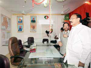 The office was inaugurated today by Venkaiah Naidu who called upon party workers to strive for and ensure party's victory in the elections.