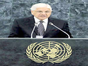 Congress MP Ashwani Kumar speaks at the 68 UN General Assembly in New York on Monday.