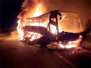 The condition of one of the five passengers, who managed to escape from the burning bus in which 45 people were charred to death in Mahbubnagar, is critical.