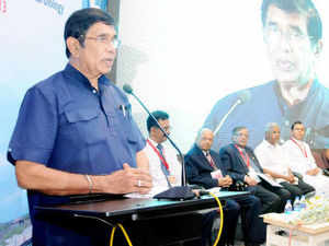 """Minister of Road Transport and Highways Oscar Fernandes launched an integrated National Transport Portal """"www.busindia.com"""" here today."""