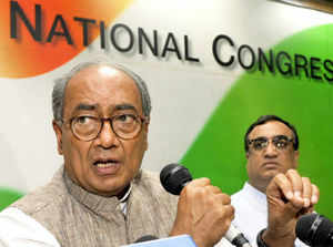 """Digvijay Singh charged Narendra Modi for adopting """"fascist means"""" to acquire land from farmers to construct a statue of Sardar Patel in Sardar Sarovar."""