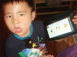 In pic: A child using Avaz app