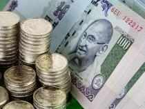 The rupee edges up against US dollar to 55.03/04 versus its previous close of 55.11/12 tracking gains in the domestic share market.