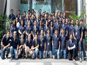 The Microsoft Venture Accelerator team in Bangalore with its startup entrepreneurs on their graduation day.