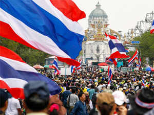 People's Democratic Reform Committee (PRDC) leader Suthep Thaugsuban led a march of thousands of demonstrators, who set up the stage from where their leaders will take turns to speak out against the government.