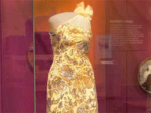 This handout photo provided by the Smithsonian shows a dress designed by Indian-American designer Naeem Khan for first lady Michelle Obama.