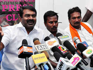 Film director P Seeman of Naam Tamilar outfit and Hindu Makkal Katchi State Secretary T.C.Senthil Kumar addressing a joint pressmeet in the city after both outfits merged ahead of the state assembly elections.