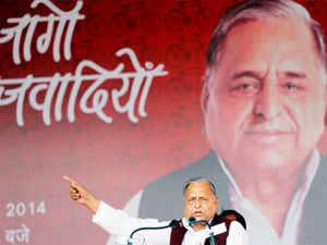 "Mulayam Singh Yadav addressing a public rally ""Desh Banao, Desh Bachao"", in Allahabad."