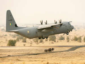 """AC130J """"Super Hercules"""" transport aircraft with five personnel on board crashed nearGwaliorFriday morning."""