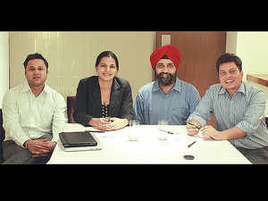 Today, Edupristine boasts a network of 1,500-plus teachers and offers 25 courses, including training modules on CFA, financial risk management, financial modelling, business analytics, and post-graduate courses. (From left) Pawan Prabhat, Sarita Chand, Paramdeep Singh and Atul Kumar.