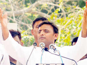 UP CM and Samajwadi Party leader Akhilesh Yadav addresses an election rally in support of party candidate Dharmendra in Badaun on Monday.
