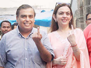 Leaders of India Inc in the financial capital, including Ambani brothers, Adi Godrej, A M Naik, N Chandrasekaran and Chanda Kochhar cast their votes today.