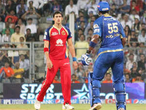 Mitchell Starc and Kieron Pollard were involved in an ugly on-field spat during a match.