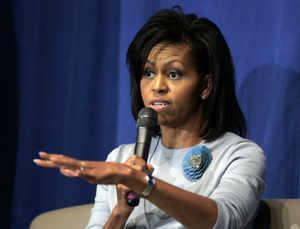 Michelle Obama speaks during a forum in Richmond. (AP)