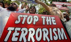 Members of Akhil Bhartiya Muslim Yuva Atankwad Virodhi Samiti at a demonstration against Indian Mujahideen terrorists in New Delhi on Sunday. (PTI)
