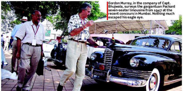Gordon Murray, in the company of Capt. Bhujwala, surveys the gargantuan Packard seven-seater limousine from 1947 at the recent concours in Mumbai. Nothing much escaped his eagle eye.