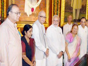 Modi along with Sumitra Mahajan, P J Kurien and L K Advani paid floral tributes to the founder leader of Bharatiya Jana Sangh.