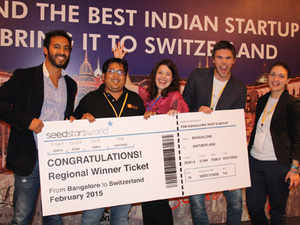 Scandid won the regional round of Seedstars World, a global startup competition. Rohit Mehta (2nd from left) of Scandid along with the Seedstars team.