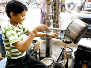 A kid tea-seller