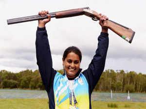 India's Shreyasi Singh celebrates after winning Silver medal in Women's Double Trap Shooting at the Commonwealth Games in Barry Buddon Shooting Center in Glasgow.