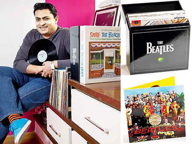 Sanyal listens to his LPs every Sunday and was almost in tears when he was gifted The Beatles boxset (top right)