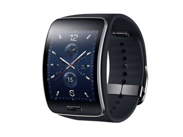 The Gear S though - is a big departure from the norm, quite literally. This is a large smartwatch - it has a 2-inch super amoled screen that curves around the wrist. Image:http://samsungmobilepress.com