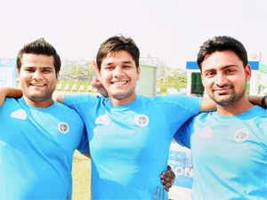 The men's compound archery team- Abhishek Verma, Rajat Chauhan and Sandeep Kumar clinched historic gold medal at the Asian Games 2014.