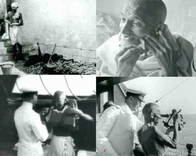 1. Gandhi set to pick up a broom to clean a dirty corner of a courtyard 2. The Mahatma using a safety razor during his journey to London 3. Gandhi trying on a life jacket 4. Gandhi looking through the eyepiece of a sextant on a ship