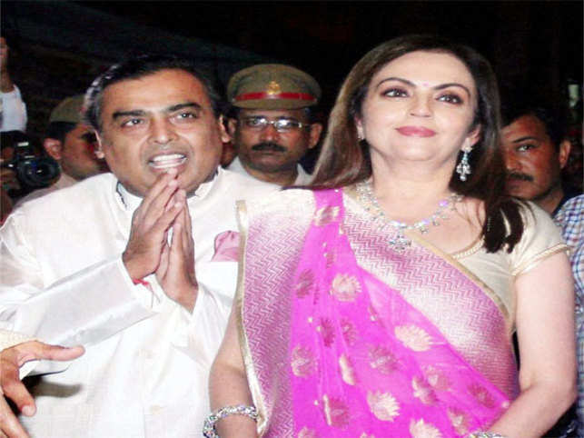India's richest person Mukesh Ambani celebrated his wife Nita Ambani's 50th birthday on Saturday in Varanasi by performing puja.