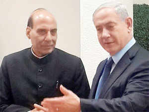 "Home Minister Rajnath Singh today met Israeli Prime Minister Benjamin Natanyahu and held discussions to strengthen India's ""very warm"" relations with the Jewish state"