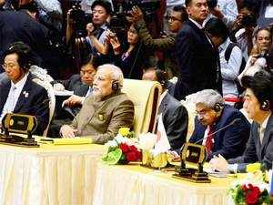 "Prime Minister Narendra Modi told world leaders that his government accorded high priority to turn India's erstwhile ""Look East"" policy into an ""Act East"" policy."