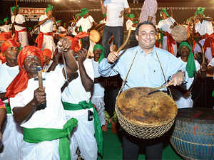 Tata Steel MD TV Narendran plays the drums at Samvaad, a tribal conclave the company organises.