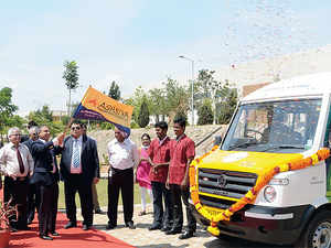 The Science on Wheels project being flagged off by L&T Group Executive Chairman A M Naik