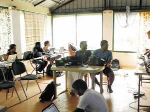 Students at Gururaj Pagad Farm at the outskirts of Bengaluru.
