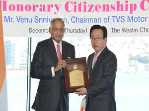 Venu Srinivasan was conferred title of honorary citizen of Busan, for his efforts to enhance friendship & cooperation between Korea & India.