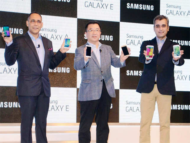 Samsung India today announced the launch of four new mid-segment smartphones - GalaxyA3, GalaxyA5, GalaxyE5and GalaxyE7.