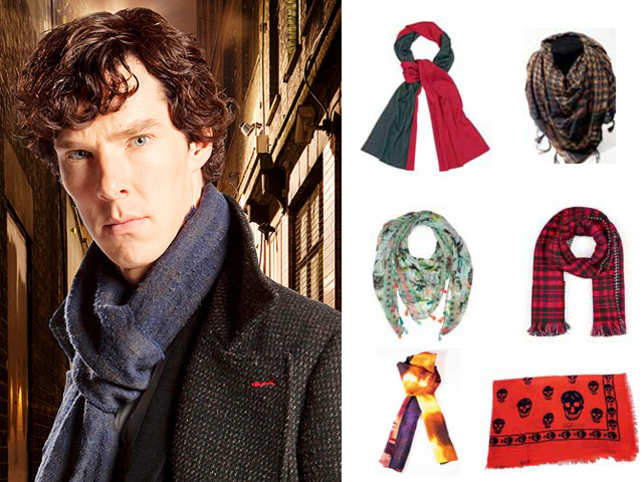 Benedict Cumberbatch layers it with a basic scarf.Take a shot with these.