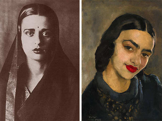 According to Sotheby's, this is the first time Sher-Gil's self portrait is being auctioned in the international market. (From left - Amrita Sher-Gil's image & painted self-potrait)