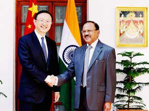 Special Representative on the Boundary Question and National Security AdvisorAjitDoval(R) held talks with his Chinese counterpart and StateCouncillor(L) YangJiechi.
