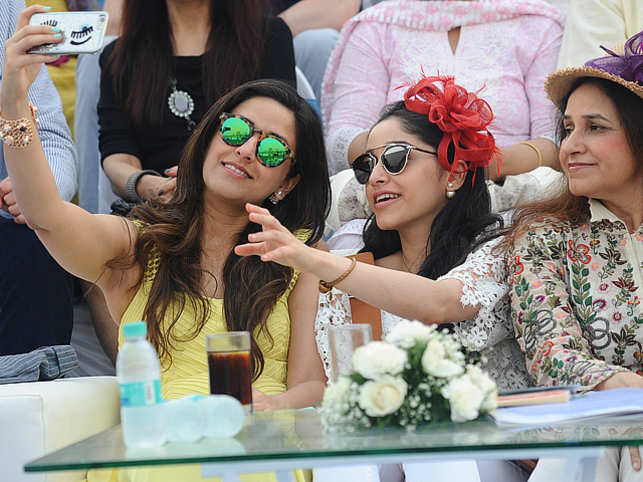 Polo match selfies ruled the sidelines of the India ARC vs Argentina Arandu match for the YES Bank Polo Cup. (Radha and Roshni with mother Bindu Kapoor)