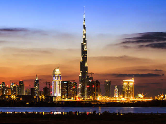 Burj Khalifa has 27 terraces and each terrace has lighting at the edge, facing up. (Image: Getty)